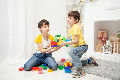 Kids during teletherapy session